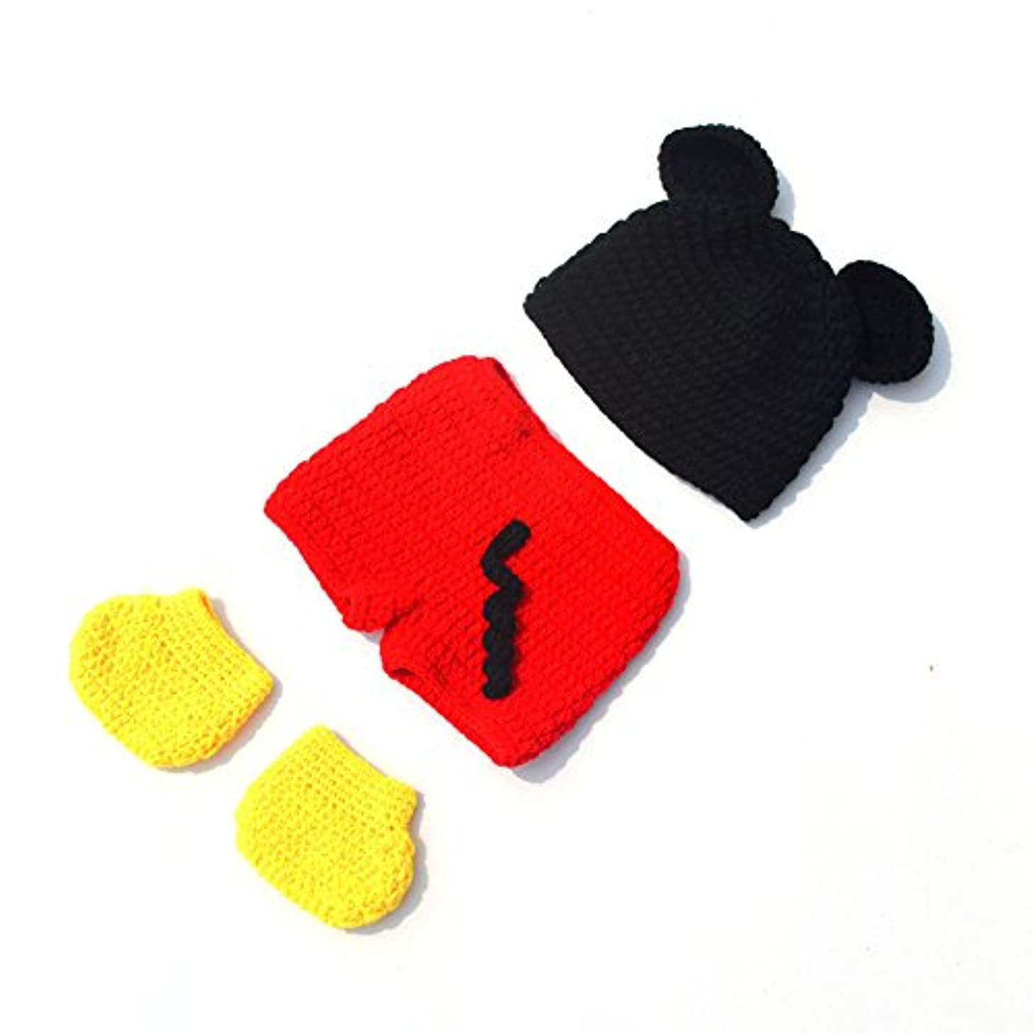 ENCOCO Newborn Baby Photo Photography Props Handmade Crochet Clothes Costume Cute Black and Red Hat Pants Shoes Set for Baby Boy Girl