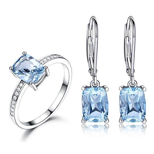KnSam Anillo de mujer, collar de plata con colgante cuadrado de boda de plata 925 para mujer con topacio azul, Plata 925., azul-topacio,