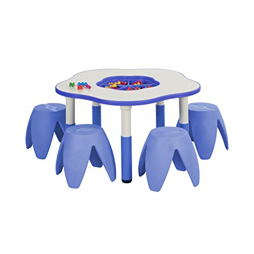 ECR4Kids Flower Resin Dry-Erase Activity Table with 4 Stacking Stools –...