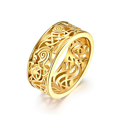 ZiFei Rings,8.5MM Irish Celtics Trinity Love Knot Bang Rings for Men Boy Stainless Steel Hollow Nordic Viking Ring Jewelry US Size 7-12,Gold,7