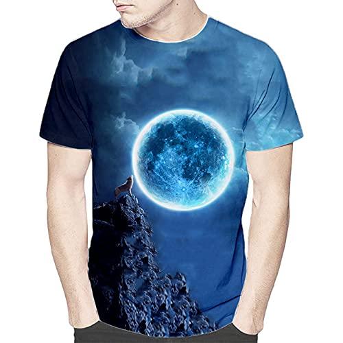 SSBZYES Camiseta para Hombre Camiseta De Verano De Manga Corta para Hombre Camiseta De Talla Grande Camiseta De Manga Corta con Lobo para Hombre Camiseta Holgada De Manga Corta con Cuello