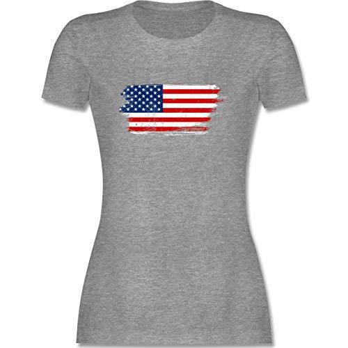 Länder - USA Vintage - L - Grau meliert - Damen Shirt usa - L191 - Tailliertes Tshirt für Damen und Frauen T-Shirt