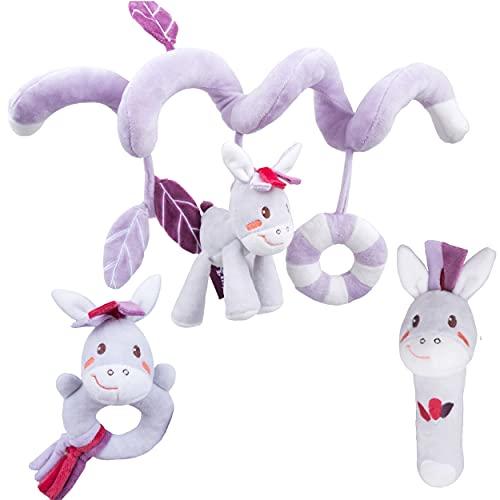TENDRINOU SPIRANEXI - Juguete para cochecito: Espiral, juguete para bebé + sonajero de peluche + sonajero anillo. Regalo de nacimiento original para niña/niño