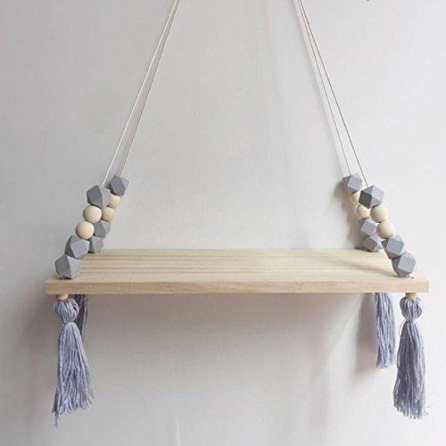 Wandregal Schweberegal Holz Quaste Wandboard Schaukel Ornament Inhaber Decor (Grau)