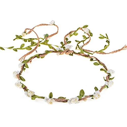 DDazzling Flower Crown Floral Wreath Headband Floral Garland Headbands photo props (Lvory)