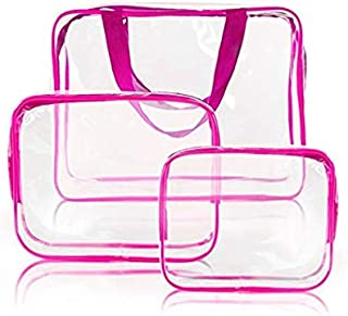 3pcs Clear Portable Makeup Cosmetic Toiletry Travel Bath Wash Storage Bag Transparent Waterproof Pouch Organizer Make Up Bag