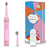 Cepillo de dientes recargable para niños, cepillo de dientes sónico para niños, niñas de 3 a 12 años, recordatorio de 30 segundos, temporizador de 2 minutos, 6 modos, 2 cabezales de cepillo (Rosado)