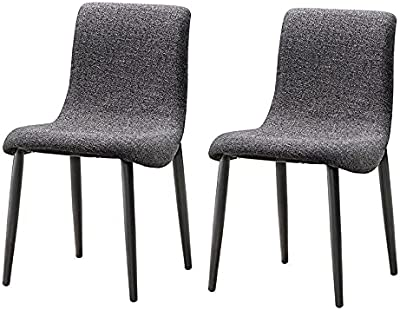 Groove 2X Samara Modern Fabric Upholstered Seat Steel Legs Dining Chairs - Black