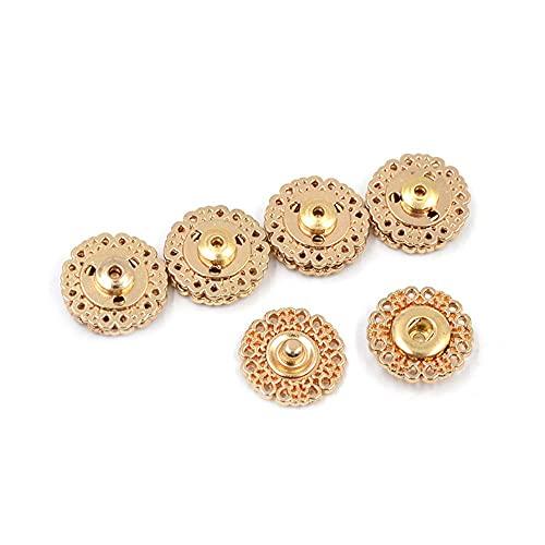 NAYAO 10PCS Mini Sujetadores de presión de Metal de Costura de Ropa, botón Invisible Hebilla de Metal Sujetador de Botones de Costura(15mm,Gold)