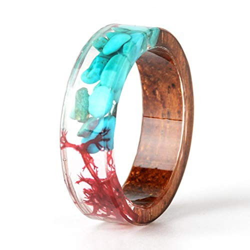 NDJEWELRY Unique Handmade Wood Ring with Synthetic-Turquoise and Red Seaweed Insided Transparent Band Ring Best Gift for Her Size 7.5