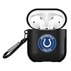 Colts AirPods Case Cover, Cute Colts AirPod 1& 2 Case Cover with Carabiner Keychain, Hybrid Silicone AirPod 1 2 Case Colts Design Shockproof Protective Airpods Skin Shell Black
