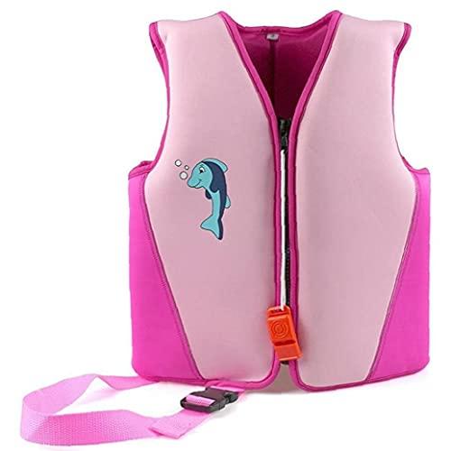 Chaqueta de natación niños nadar chaleco de flotación Traje de baño de los bebés niñas chaqueta de natación de neopreno flotabilidad del chaleco Floation del traje de baño rosado L de natación