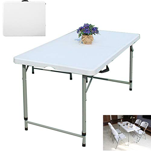 dicn electronic Folding Tables 1.2m 4ft Heavy Duty Outdoor Garden Camping Foldaway Table for Party Event Car Boot Stall Picnic White with Carry Handle Compact