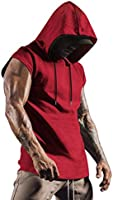 COOFANDY Mens Workout Hooded Tank Top Gym Muscle Cut Off Short Sleeves T Shirt