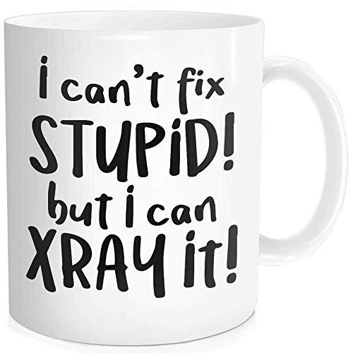 1 Stück, ich kann 'Nicht dumm reparieren, Aber ich kann es röntgen Lustige Kaffeetasse Geburtstag Halloween Männer Frauen Radiologie-Techniker, 11 Unzen feiner Knochen Keramik w