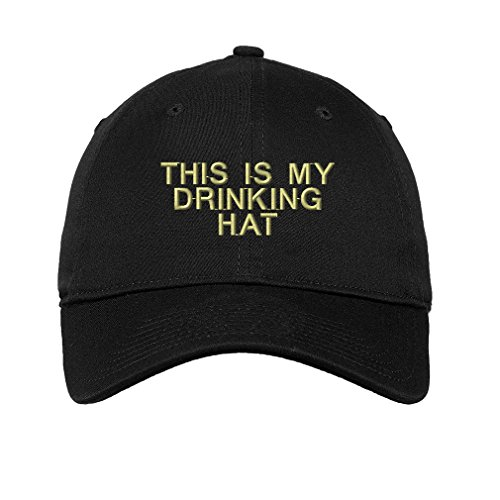Speedy Pros This is My Drinking Hat Embroidered Unisex Adult Flat Solid Buckle Cotton Unstructured Hat Low Profile Cap - Black, One Size