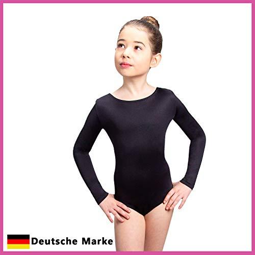Siegertreppchen® Turnanzug für Mädchen Langarm (Größe 116-164) in schwarz - Gymnastikanzug Tanzbody für Kinder zum Turnen, Fitness & Tanzen