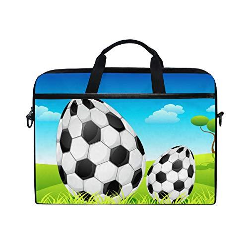 Ahomy Laptoptasche, 35,6 cm (14 Zoll), Fußball-Ostereier, Canvas-Stoff, Laptoptasche mit Schulterriemen für Damen und Herren