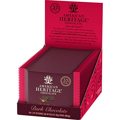 American Heritage Chocolate Candy Bars - 57% Cacao Artisanal Dark Chocolate Bar with a hint of Vanilla, Orange and Cinnamon - 24 Pcs Box of Chocolate with 1.27oz per Dark Chocolate Candy Bar / Tablet