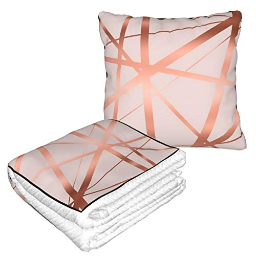 Travel Blanket and Pillow Premium Soft 2 in 1 Airplane Blanket,Pink And Copper Luxe with Soft Bag Pillowcase, For sofa Camping car Traveling