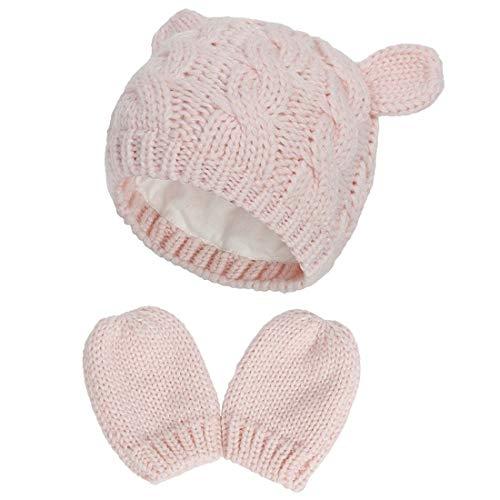 Yixda Neugeborene Baby Mütze und Handschuhe Set Kleinkind Winter Strickmütze Hüte (Rosa 2, 0-3 Monate)