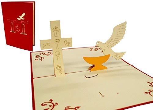 LIN17128, POP - UP Karten Kommunion, Konfirmation, Taufe, Grußkarte 3D Karten Klappkarten Einladungen, N102