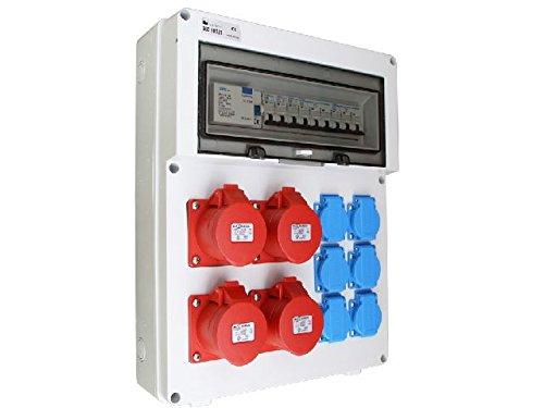 Wandverteiler 4 x 16A + 6 x 230V FI Stromverteiler Baustromverteiler Steckdosenverteiler AWVT20