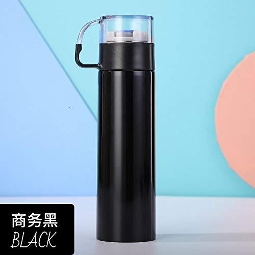 LANKOULI Doppelwandige Edelstahl-Vakuumgriff-Tasse Thermoskanne Vakuumflaschen Halten Sie kalte Heißwasser-Tasse tragbare Kaffeetasse-500 ml_schwarz