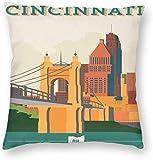 BONRI Stad Gebouw Poster Cincinnati USA Ohio Kussensloop