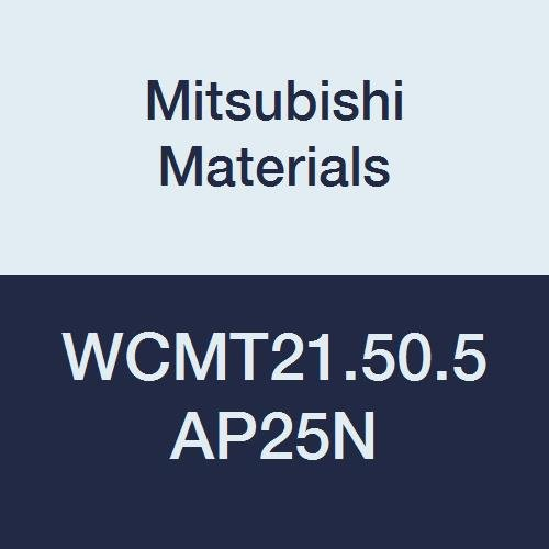 """Mitsubishi Materials WCMT21.50.5 AP25N Coated Cermet WC Type Turning Insert with Hole, Trigon, Grade AP25N, 0.008"""" Corner Radius, 0.25"""" IC, Standard Breaker, 0.094"""" Thick (Pack of 10)"""