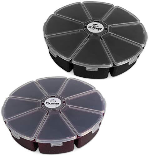 Storfisk fishing & more Kleinteilebehälter rund für Angelzubehör (Wirbel, Haken, etc.) Ø 12 cm x 3 cm, Typ:8 Kammern (2 Stück)