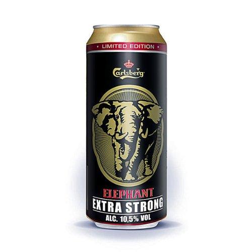 12 Dosen a 0,5L Elephant Carlsberg Starkbier Extra strong 10,5% vol. Bier Elefant inc. 3€ EINWEG Pfand