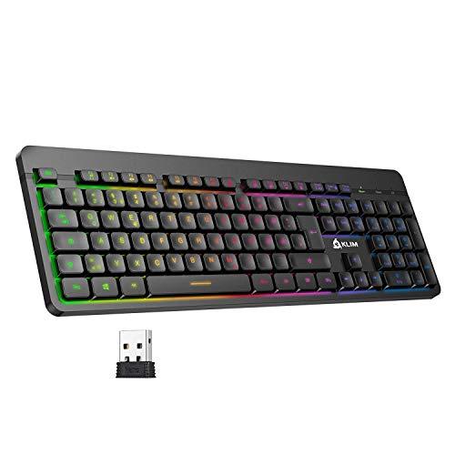 KLIM Light V2 Tastatur Kabellos QWERTZ + flach, ergonomisch, dezent, wasserresistent, leise + Beleuchtete Gaming Tastatur für PC Mac PS4 Xbox One + Integrierter Akku mit Langer Lebensdauer Neu 2020
