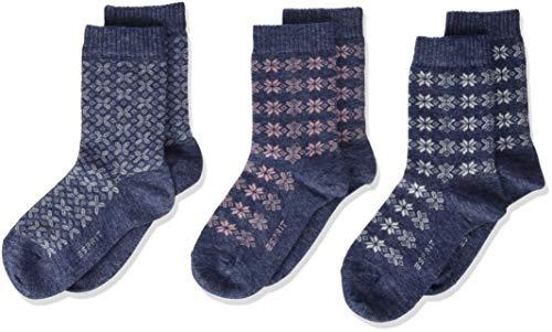ESPRIT Unisex Kinder Intarsia 3-Pack Socken, blau (Ocean 6091), 35-38 (9-12 Jahre) (3er Pack)
