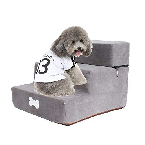 Escaleras para perros, escalera de esponja desmontable para mascotas, escaleras para mascotas extraíbles y lavables de 3 pisos para camas altas y sofá, adecuadas para gatos pequeños, perros y mas