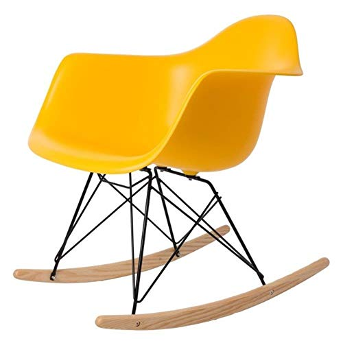 PJA Home decoration Rocking Chair Plastic Shell Rocker Home Rocking chairs Leisure Chair,B yellow
