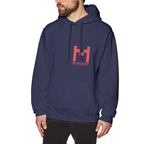 Review Mens Markiplier Logo Long Sleeve Hoodie Sweatshirt Navy Sweater Clothes for Men Jacket Navy X...