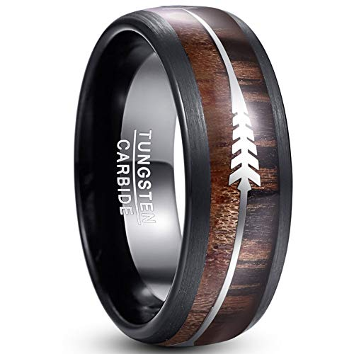 VAKKI Mens Womens 8mm Domed Tungsten Carbide Promise Ring with Silver Arrow and Hawaiian Wood Inlay Size T 1/2
