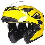 HNZZ Cascos Moto Casco De Moto Abatible Sistema De Doble Lente Casco De Competición Extraíble Y Lavable (Color : Yellow, Size : XXL)