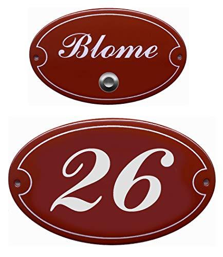 Emaille-Namensschild-Klingelschild-Türschild-150 x 105 oder 175 x 125 oder 185 x 145 mm-Türklingel-Klingel-mit Wunschtext (150 x 105 mm mit 1 Textzeile + Klingelkontakt)