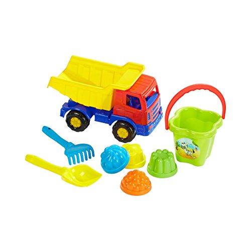 solini Sandspielzeug-Set (8-tlg) mit Kipper - Kinderspielzeug für Sandkasten, Spielplatz & Strand - inkl. Schaufel, Rechen, Eimer & 4 Förmchen - bunt