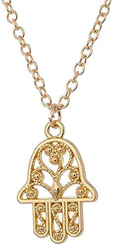 NC110 Collar para Mujer Fiesta Mano Mandala Vintage Cuero Negro Perla Colgante Joyas Cabujón de Cristal Gargantilla Collar Longitud de Cadena 50 + 5cm Collar
