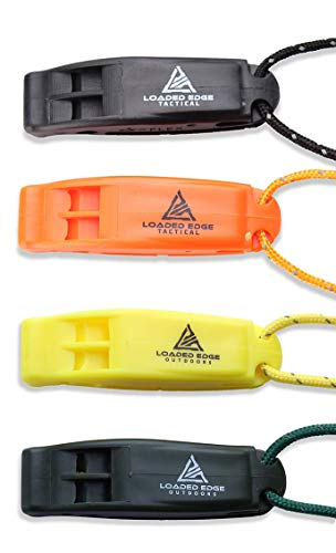 Safety Survival Whistle – Emergency Running Whistles with Lanyard (4 Pack) - Extra Loud - Perfect for Hiking, Boating, Camping, Hunting, Biking & More – U.S. Veteran Owned Company
