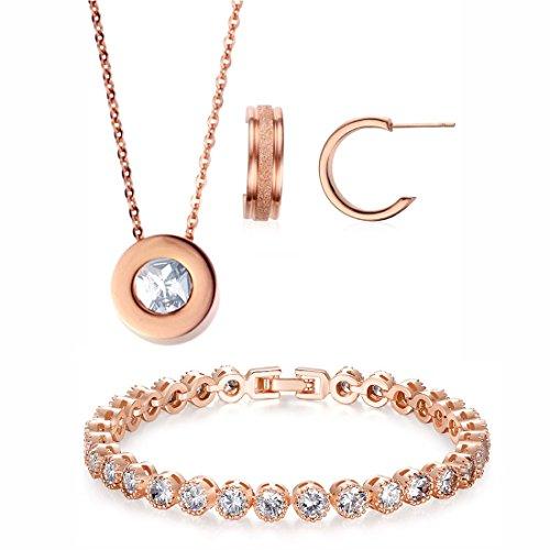 "Kim Johanson Edelstahl Damen Schmuckset \""Circle of Love\"" in Roségold Halskette mit Anhänger, Ohrringe & Armband inkl. Schmuckbeutel"