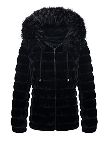 Giolshon Chaqueta de Doble Cara de Lana sintética para Mujer usada en Ambos Lados, el Abrigo Acolchado con Capucha y Cuello de Piel Negro X-Grande