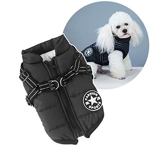Abrigo acolchado para perros y gatos para el invierno, resistente al viento, impermeable, 2 en 1, abrigo para clima frío, abrigo para cachorro, chaqueta cálida de invierno, chaleco para perro pequeño (negro, XXXXL)