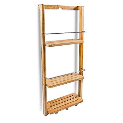 Relaxdays Duschregal mit 3 Ablagen H x B x T: ca. 70 x 28,5 x 10 cm Regal zum Einhängen mit 3 Haken für Handtücher oder Lappen als praktisches Hängeregal für Küche und Bad Duschablage aus Holz, natur