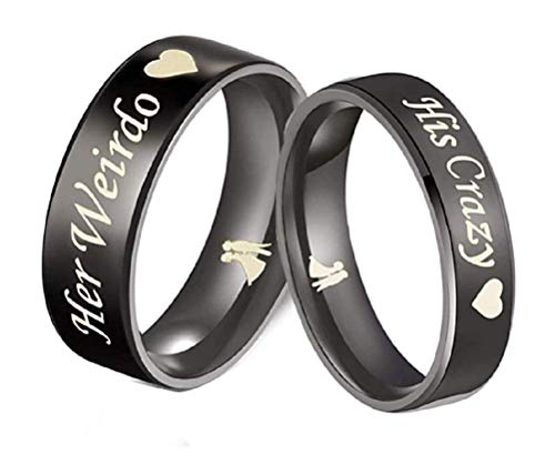 His or Hers (Sold Separate Price for ONE Ring Only) 6mm/4mm Stainless Steel His Crazy and Her Weirdo Couple Wedding Bands Ring -CR161 (Women's Ring (his Crazy), 8)