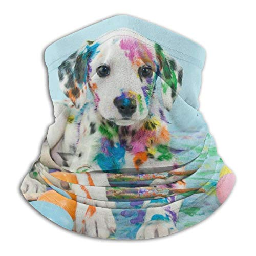 Tour de Cou Cagoule Microfibre Chapeaux Tube Masque Visage, Stylish Funny Little Dalmatian Puppy Dog Fleece Neck Warmer - Reversible Neck Gaiter Tube, Versatility Ear Warmer Headband & For Men An