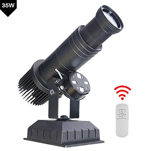 FDYD Imagen 35W LED Personalizado Insignia del GOBO Proyector de luz con Control Remoto y girando Función Manual Zoom y Enfoque Personalizado Gobos de la Empresa Hotel Restaurante letreros,Negro
